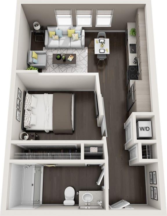 Rise at 2534 - A1 - 1 bedroom 1 bath - 3D