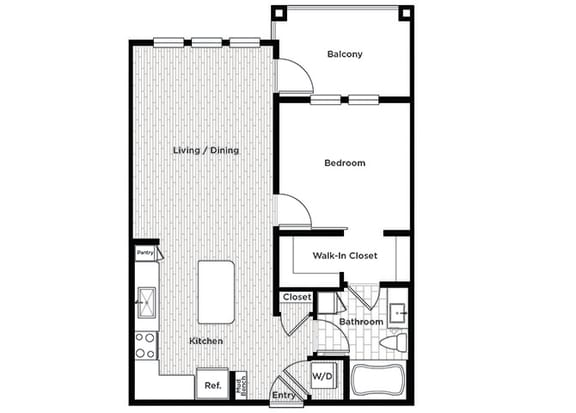 Rise at 2534 A3 1 bedroom floor plan