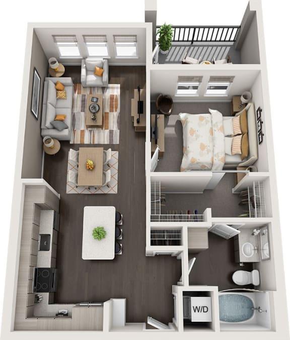 Rise at 2534 - A3 - 1 bedroom 1 bath - 3D