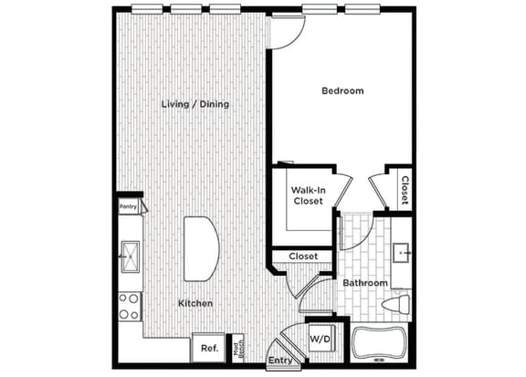 Rise at 2534 A4 1 bedroom floor plan