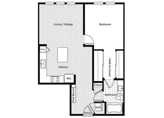 Rise at 2534 A5 1 bedroom floor plan