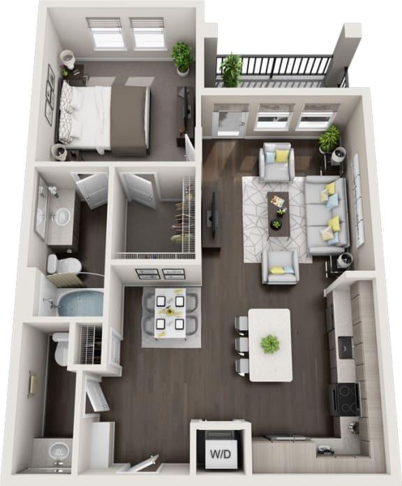 Rise at 2534 - A6 - 1 bedroom 1 bath - 3D