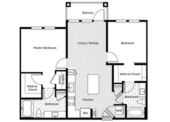 Rise at 2534 B1 2 bedroom floor plan