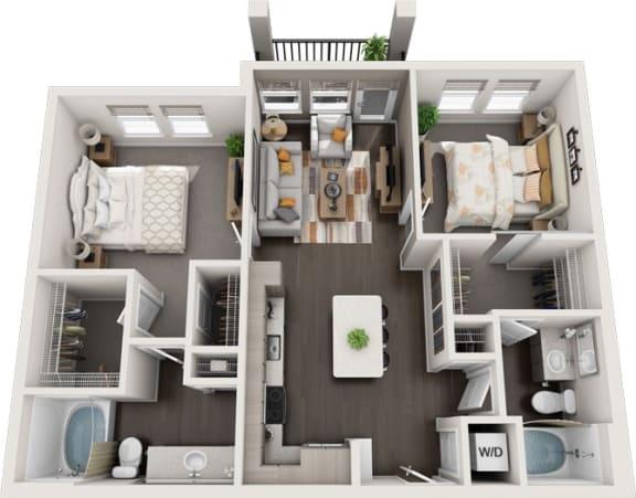 Rise at 2534 - B1 - 2 bedroom 2 bath - 3D