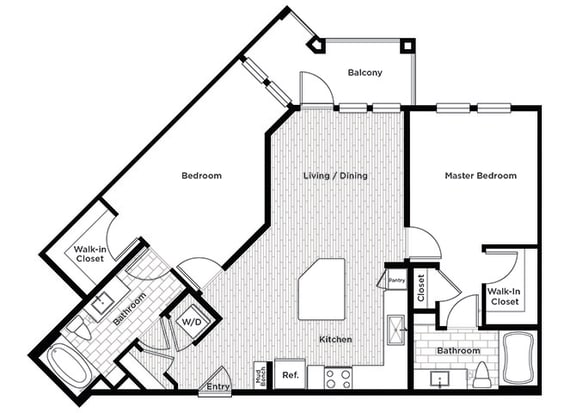 Rise at 2534 B2 2 bedroom floor plan