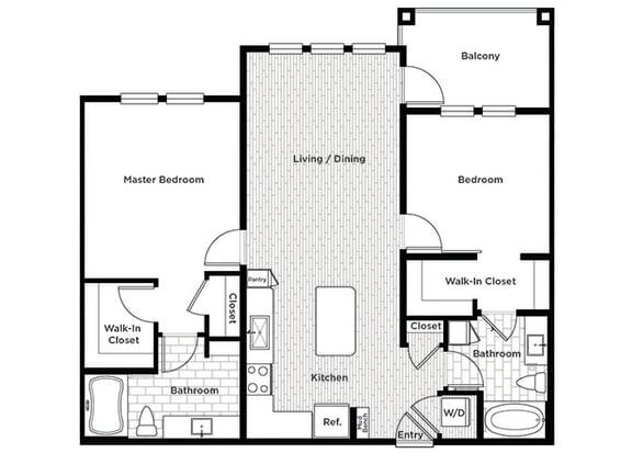 Rise at 2534 B3 2 bedroom floor plan
