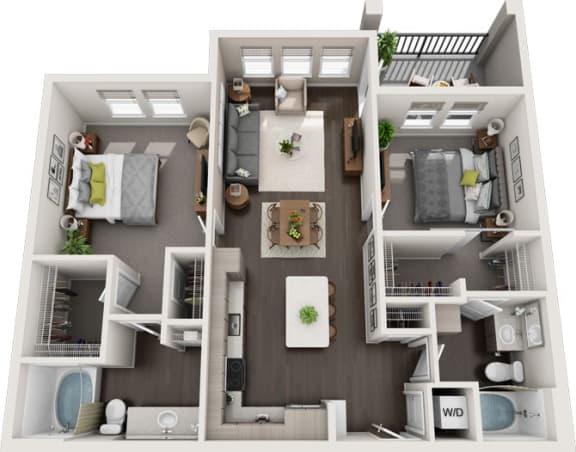 Rise at 2534 - B3 - 2 bedroom 2 bath - 3D