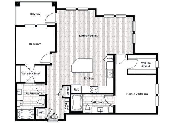 Rise at 2534 B4 2 bedroom floor plan