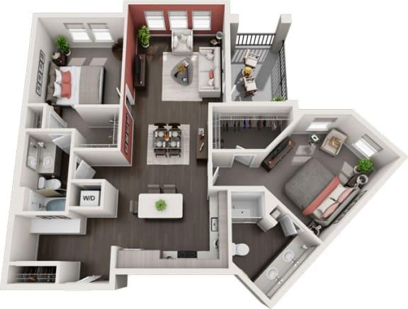 Rise at 2534 - B5 - 2 bedroom 2 bath - 3D