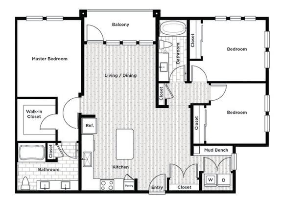 Rise at 2534 3 bedroom floor plan