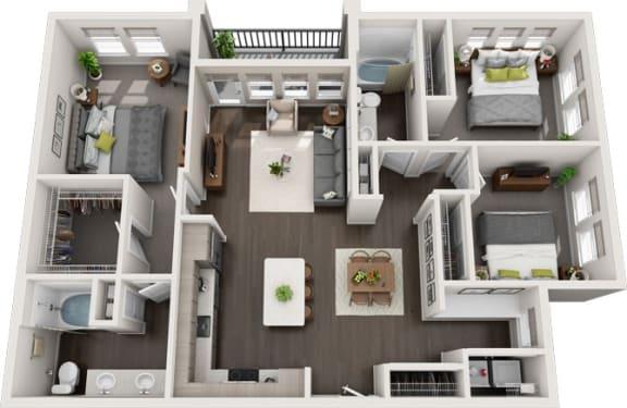 Rise at 2534 - C1 - 3 bedroom 2 bath - 3D