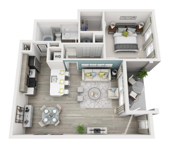 Floor Plan  Allegre - A1 - 1x1 Floor Plan