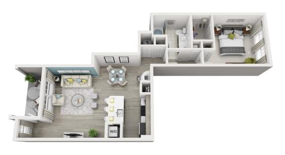 Floor Plan  Aura - A2 - 1x1 Floor Plan