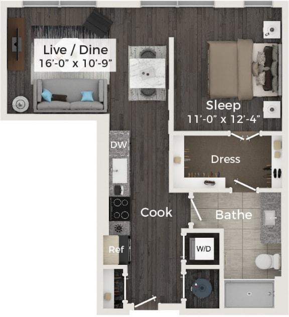 1 Bedroom 1 Bathroom Floor Plan at Cameron Square, Alexandria, Virginia