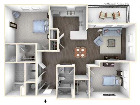 A spacious two bedroom with a chef's kitchen and large living room.