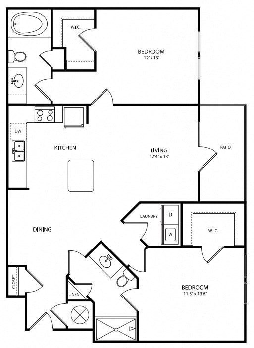 Spacious two bedroom with private balcony in Canton