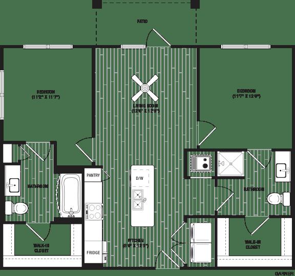 Garner Floor Plan at The Crest at Flowery Branch, Flowery Branch, GA, 30542