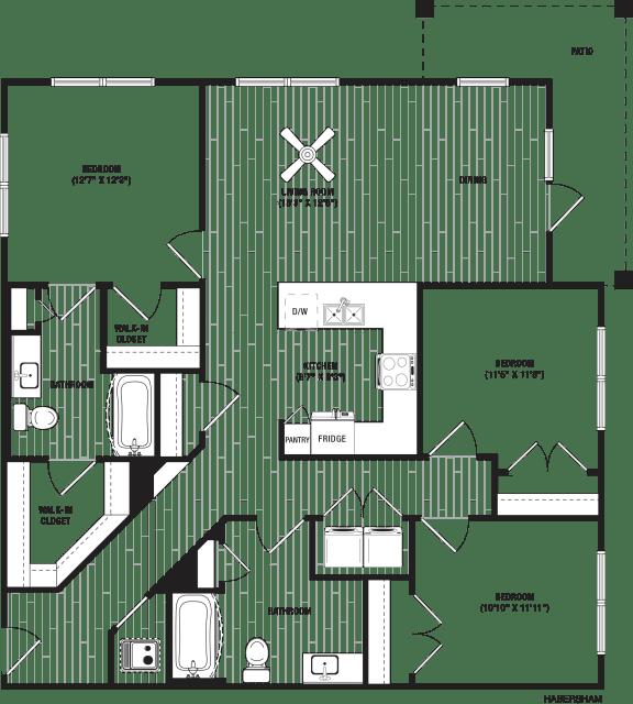 Habersham Floor Plan at The Crest at Flowery Branch, Flowery Branch