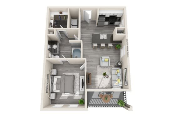 One-Bedroom Floor Plan at The Mansions McKinney, McKinney, TX, 75070