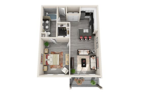 One-Bedroom Floor Plan at The Mansions McKinney, McKinney, TX