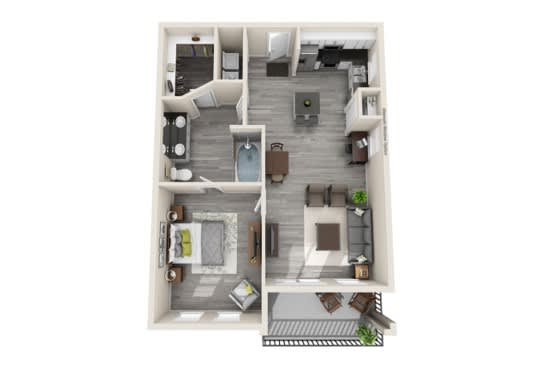 One-Bedroom Floor Plan at The Mansions McKinney, McKinney
