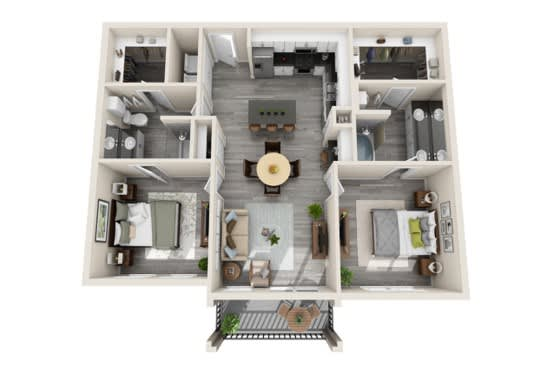 Two-Bedroom Floor Plan at The Mansions McKinney, Texas, 75070