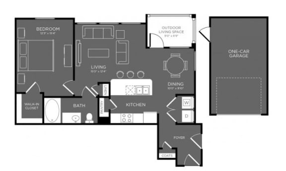 One Bed One Bath Floor Plan at Mansions Woodland, Conroe, TX