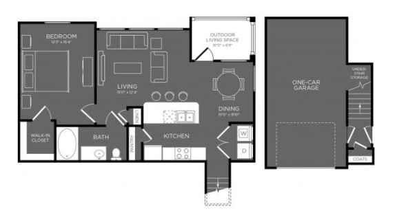 One Bed One Bath Floor Plan at Mansions Woodland, Conroe, 77384