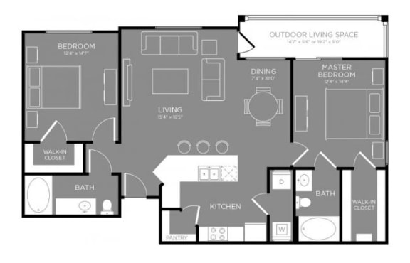 Two Bed Two Bath Floor Plan at Grand Estates in the Forest, Conroe, TX, 77384