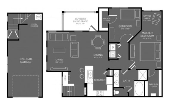 Two Bed One Bath Floor Plan at Mansions Woodland, Texas, 77384