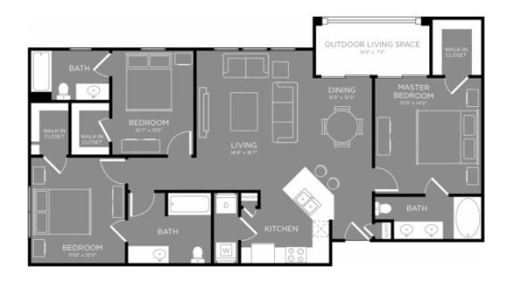 Three Bed Three Bath Floor Plan  at Grand Estates in the Forest, Conroe, TX