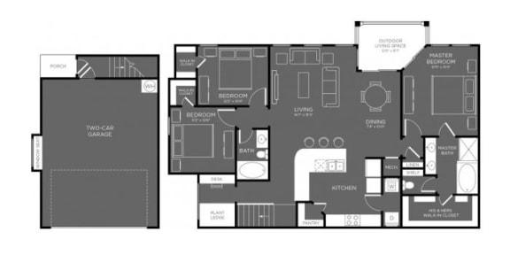 Three Bed Two Bath Floor Plan at Mansions Woodland, Conroe, Texas