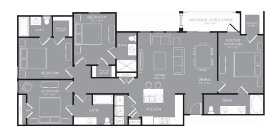 Four Bed Four Bath Floor Plan  at Grand Estates in the Forest, Conroe, 77384