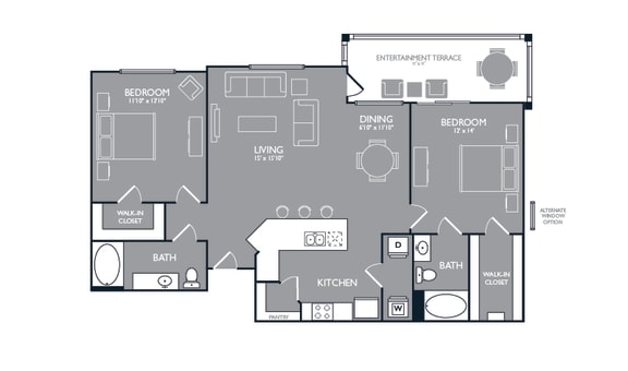 Two Bed Two Bath Floor Plan at Luxe Creekside, New Braunfels, Texas