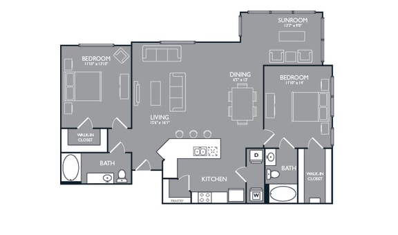Two Bed Two Bath Floor Plan at Luxe Creekside, New Braunfels
