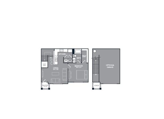 One Bedroom with Garage