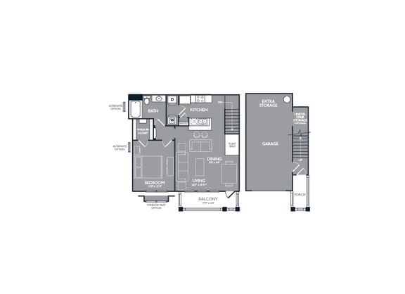 One Bed One Bath Floor Plan at Mansions at Briggs Ranch, San Antonio, TX, 78245