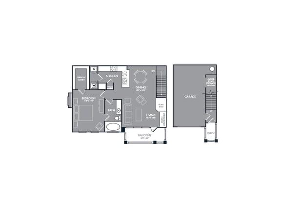 Floor Plan  One Bed One Bath Floor Plan at Mansions at Briggs Ranch, San Antonio, TX