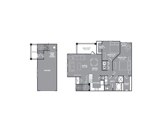 Floor Plan  Two Bed One Bath Floor Plan at Mansions at Briggs Ranch, San Antonio, Texas