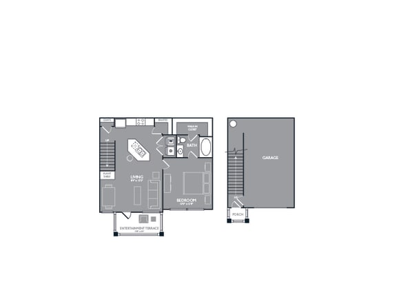 Floor Plan  One-Bedroom Floor Plan at Mansions of Georgetown, Texas, 78626