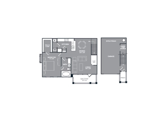 Floor Plan  One-Bedroom Floor Plan at Mansions of Georgetown, Georgetown, Texas