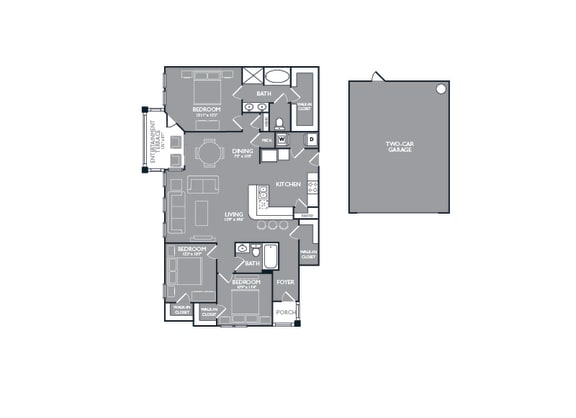 Floor Plan  Three-Bedroom Floor Plan at Mansions of Georgetown, Georgetown, TX