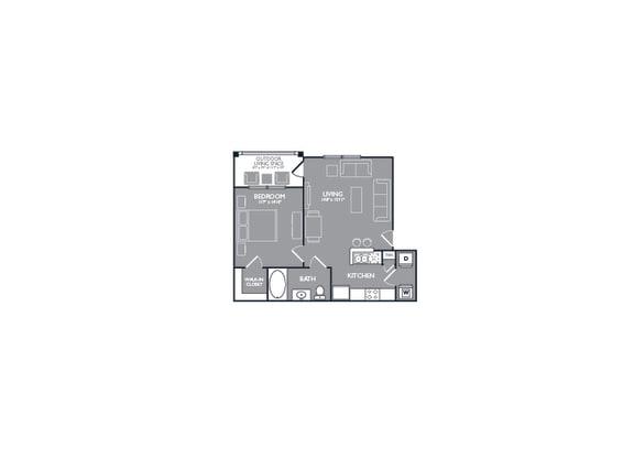 One Bed One Bath Floor Plan at Mansions Lakeway, Lakeway