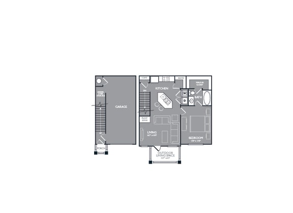 One Bed One Bath Floor Plan at Mansions Lakeway, Texas, 78738