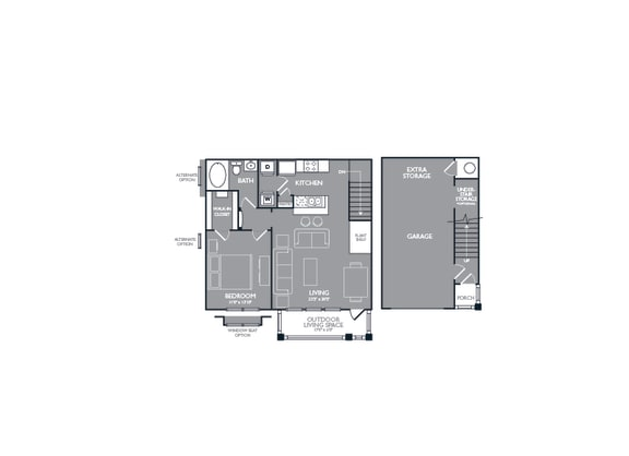 One Bed One Bath Floor Plan at Mansions Lakeway, Lakeway, TX, 78738