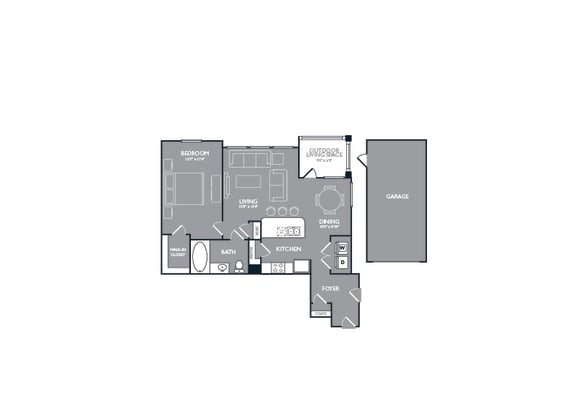 One Bed One Bath Floor Plan at Mansions Lakeway, Lakeway, TX