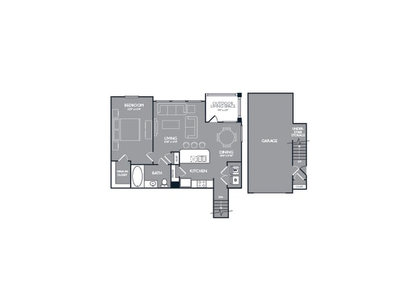 One Bed One Bath Floor Plan at Mansions Lakeway, Lakeway, 78738