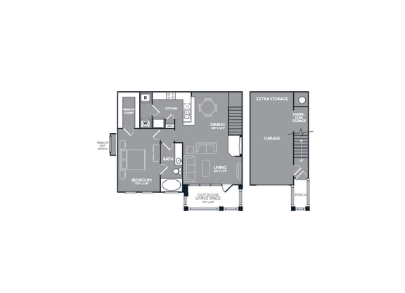 One Bed One Bath Floor Plan at Mansions Lakeway, Lakeway, Texas
