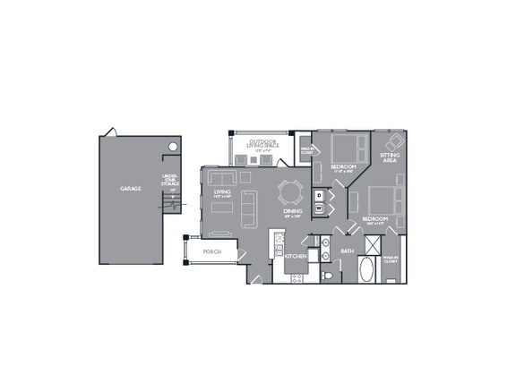 Two Bed One Bath Floor Plan at Mansions Lakeway, Lakeway