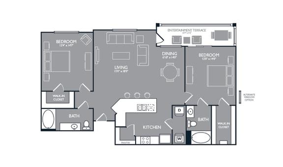 Two-Bedroom Floor Plan at Mansions at Spring Creek, Garland, TX